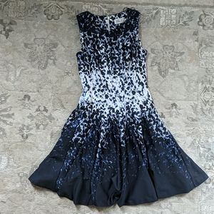 Navy blue and white fit and flare dress
